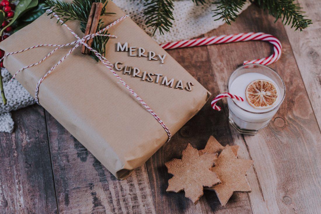 glass-of-milk-near-christmas-present-1883383